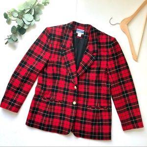 Pendleton 100% wool red tartan plaid blazer
